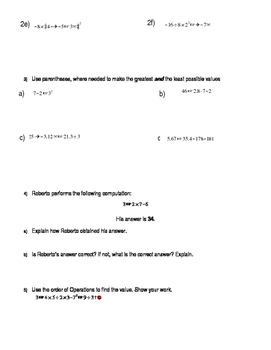 Worksheet for Order of Operations