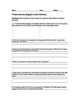 "Poetry: FREE Worksheet for Whitman's ""I Hear America Singing"""