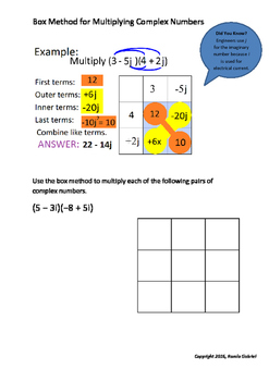 Worksheet on Box Method for Multiplication of Complex Numbers