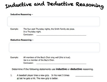 Worksheet on Inductive and Deductive Reasoning