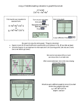 Graphing polynomials worksheet pdf