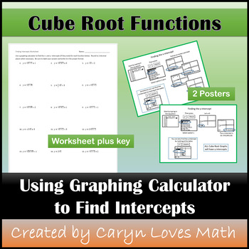 Cube Roots~Finding x- & y-intercepts~Graphing Calculator~Poster~