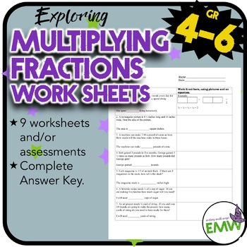 Multiplying Fractions Worksheets or Assessments
