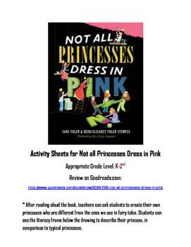 """Worksheets for """"Not all Princesses Dress in Pink"""" Read Alo"""
