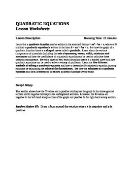 Quadratic Equation Lesson and Story Problem Worksheets