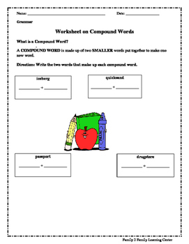 Worksheets on Compound Words