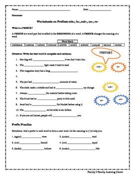 Worksheets on Prefixes~mis, in, sub, un, and re