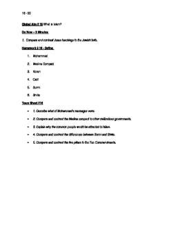 Worksheets to accompany Global History Aims 16 - 30