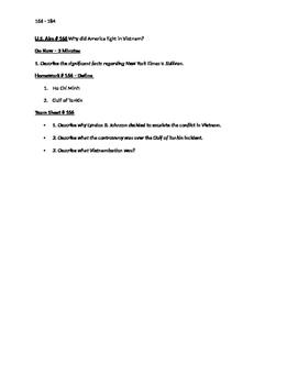 Worksheets to accompany U.S. History Aims 166 - 184
