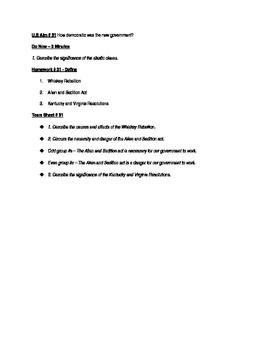Worksheets to accompany U.S. History Aims 31 - 45