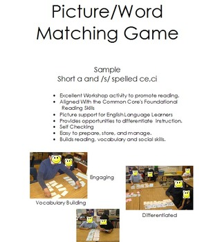 Picture Word Match Workshop Activity
