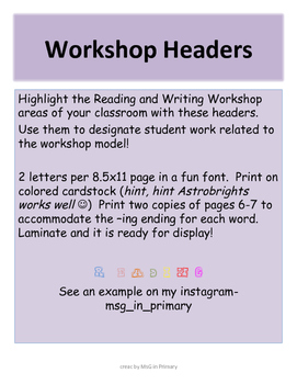 Workshop Letters