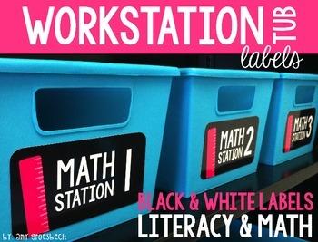 Workstation Tub Labels – Literacy & Math