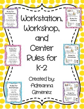 K-2 Workstation / Workshop / Center Rules Posters