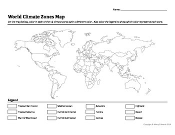 world climate zones map worksheet by marcy edwards teachers pay teachers. Black Bedroom Furniture Sets. Home Design Ideas