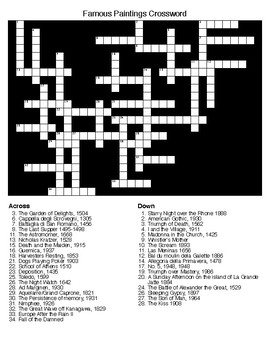 World Famous Paintings Crossword and Word Search