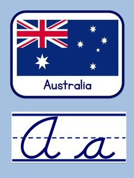 World Flags Cursive Alphabet Posters