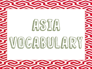 World Geography - Asia - Vocabulary Presentation