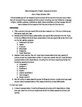 World Geography: Aspects of Culture Research Project