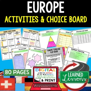 World Geography EUROPE Choice Board Activities (Paper and