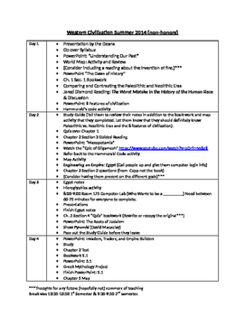 World History 2 (Summer) Semester Lesson Plans