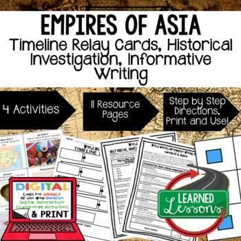 World History Asian Empires Timeline Relay & Writing Activ