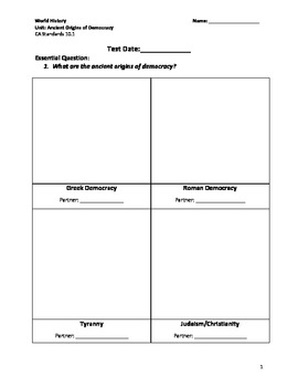 World History (CA) Ancient Origin of Democracy Unit Packet