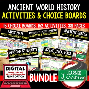 World History Choice Boards Part 1 BUNDLE (Paper and Google)