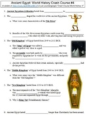 World History Crash Course #4 (Ancient Egypt) worksheet