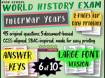 World History Exam: INTERWAR YEARS, 45 Test Qs, Common Cor
