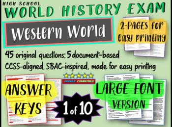 World History Exam: WESTERN WORLD, 50 Test Qs, Common Core