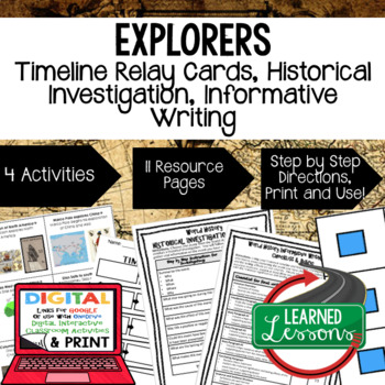 World History Exploration Timeline Relay & Writing Activit