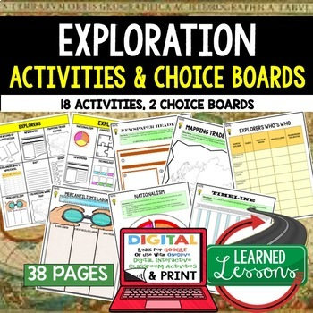 World History Explorers Choice Board Activities (Paper and