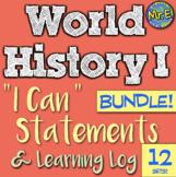 World History I Can Statement & Log Bundle! 9 units! Impro