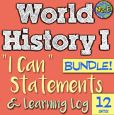 World History I Can Statement & Log Bundle! 9 units! Impro