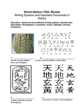 World History I SOL Review: Writing Systems and Famous Writings