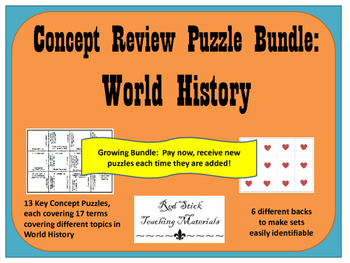 World History Key Concepts Puzzle--A GROWING BUNDLE!