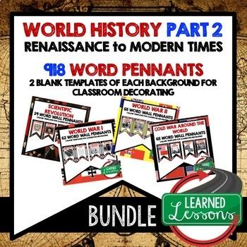 World History Part 2 Word Wall Pennants BUNDLE Renaissance