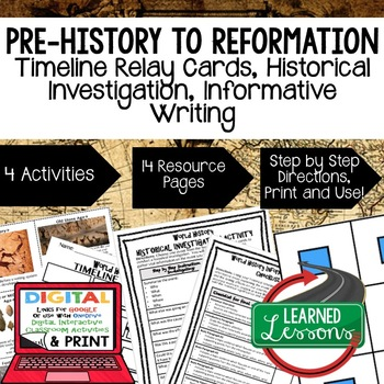 World History Prehistory-Reformation Timeline & Writing wi