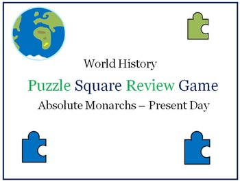World History Puzzle Square Review Game (Absolute Monarchs