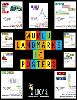 World Landmarks Posters - 16 illustrated posters