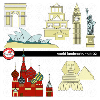 World Landmarks (Set 02) Clipart by Poppydreamz