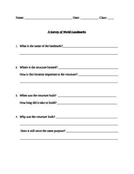 World Landmarks Worksheet