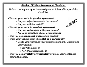 World Language Student Writing Assessment Checklist