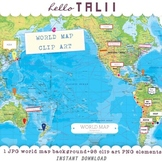 World Map Digital Clip Art Megabundle: 1 map + 98 clip art