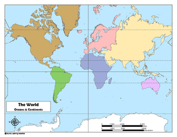 World Map: Oceans and Continents