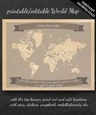 World Map Printable - Printable Editable Map Instant Downl