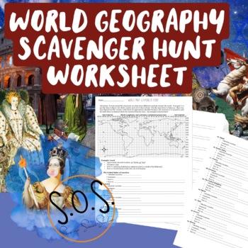 World Map Scavenger Hunt Worksheet