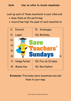 World Mountains (using an atlas) Lesson plan, Instructions