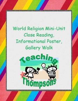 World Religion Close Readings, Poster Instructions, and Ga